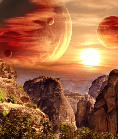fantasy world: Fantastic landscape with planet, mountains and sunset Stock Photo