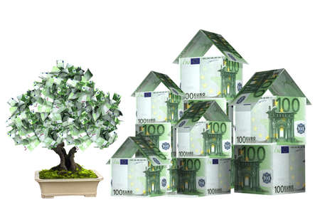 money savings: Three houses from euro banknotes and money tree in pot.  Isolated on white background