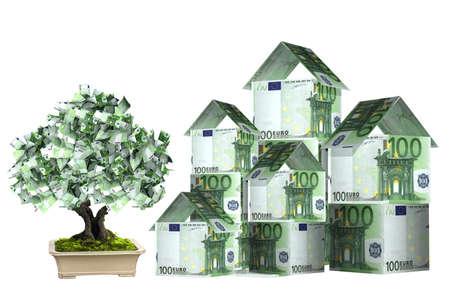 feuille arbre: Trois maisons de billets en euros et arbre de l'argent dans le pot. Isol� sur fond blanc
