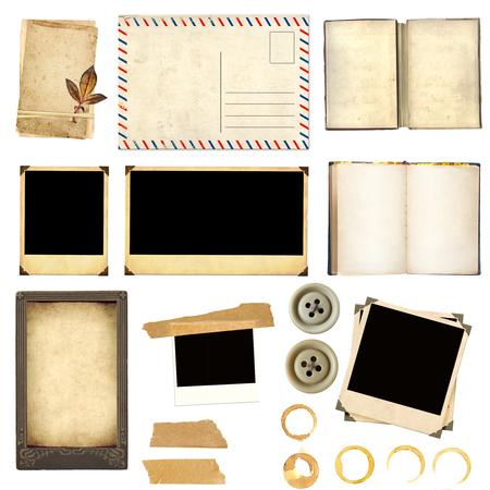 hojas secas: Elementos de la colección de scrapbooking. Los objetos aislados sobre fondo blanco Foto de archivo