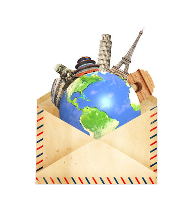 old envelope: Famous monuments of the world grouped together on Earth in old envelope. Isolated on white background.