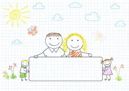 Gelukkig gezin - moeder, vader en twee kinderen met banner. Schets op laptop pagina