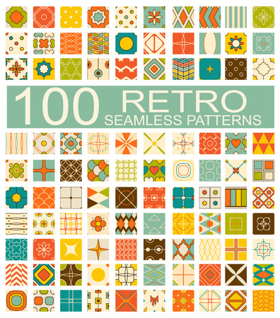 herringbone background: Set of 100 retro different vector geometric seamless patterns (tiling) of blue, orange, red, ivory, pink and green colors. Endless texture can be used for pattern fills, web page background, surface and textile textures
