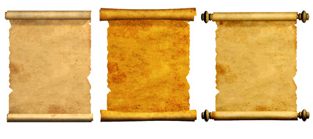 medievales: Colecci�n de viejos pergaminos. Aislado en el fondo blanco Foto de archivo