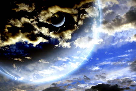 interplanetary: Storm sky and alien planets.