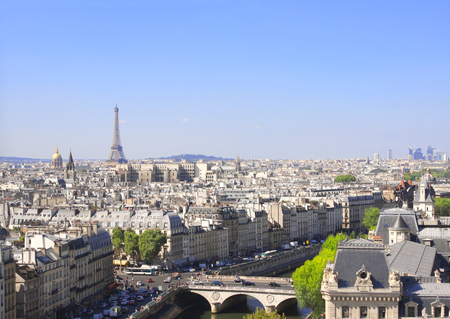 panoramic sky: Overlooking Paris up on Notre Dame de Paris and river Seine, France Stock Photo