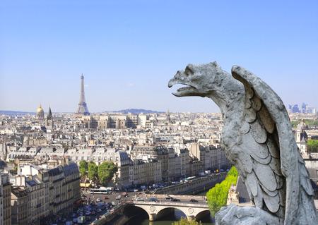 gargoyle: Gargoyle overlooking Paris up on Notre Dame de Paris and river Seine, France