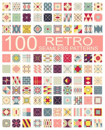 pastel colors: 100 Conjunto de patrones retro diferentes geométrica del vector sin costura (mosaico) de azul, naranja, rojo, marfil, rosa y verde, colores. la textura infinita puede ser utilizado para patrones de relleno, de fondo página web texturas superficiales y textiles, papel pintado Vectores