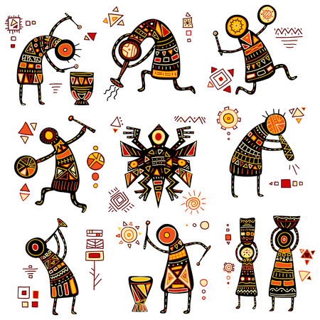 yellow african: African ethnic patterns of yellow, orange, black and red color