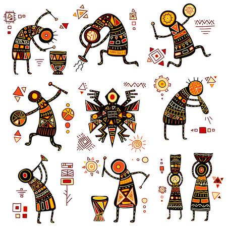 Modelli etnici africani di colore giallo, arancio, nero e rosso Archivio Fotografico - 52542374