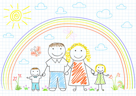 family with two children: Happy family - mom, dad and two children. Sketch on notebook page Illustration