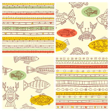 cancer crab: Collection of seamless vector ethnicity patterns with fish, crab and cancer. Endless texture can be used for pattern fills, web page background, surface and textile textures, wallpaper Illustration