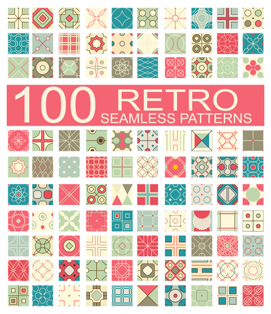hundred: Set of 100 retro different vector geometric seamless patterns (tiling) of blue, red, ivory, pink and green colors. Endless texture can be used for pattern fills, web page background, surface and textile textures