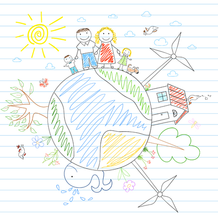 family with two children: Eco concept. Happy family - mom, dad and two children on Earth. Sketch on notebook page Illustration