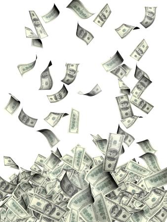 Vliegende bankbiljetten van dollars. Geïsoleerd op witte achtergrond