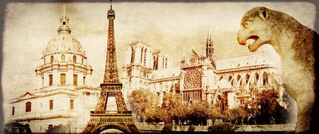 invalides: Grunge background with paper texture and landmarks of Paris - Eiffel tower, Les Invalides, Notre Dam de Paris