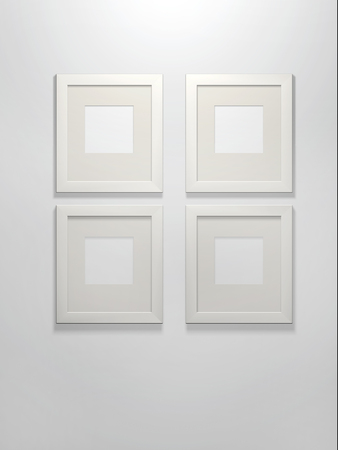 passe: Four 3d picture frames on a white wall