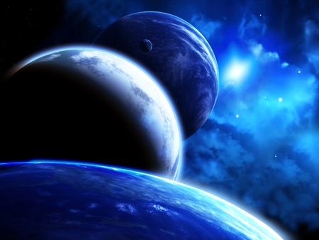parades: A beautiful space scene with parade of planets and nebula.