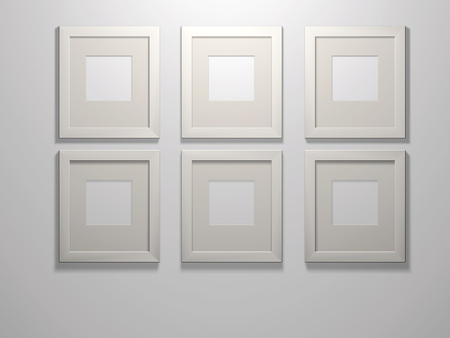 passe: Six 3d picture frames on a white wall