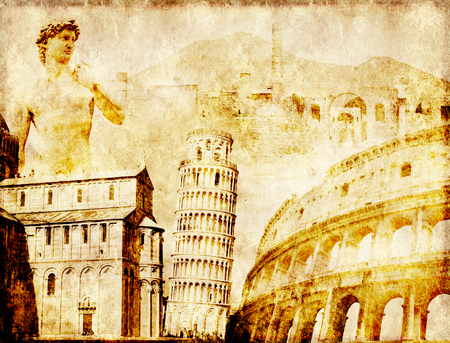 the renaissance: Grunge background with paper texture and landmarks of Italy - volcano Mount Vesuvius, Leaning Tower of Pisa, Colosseum, Michelangelos David