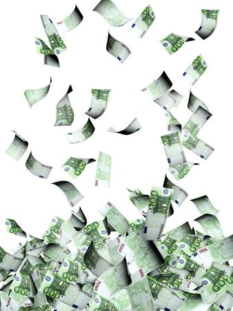 dinero euros: billetes de euro volar. Aislado en el fondo blanco Foto de archivo