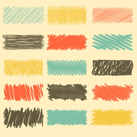 retro color: Vector collection of retro scribbled lines with hand drawn style of red, yellow, black and blue color Illustration