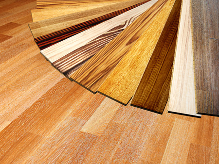 flooring: New oak parquet of different colors Stock Photo