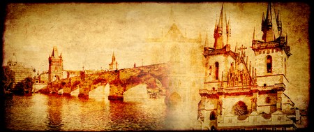 unesco in czech republic: Grunge background with paper texture and landmarks of Czech Republic - Tyn Church on Old Town Square and Charles bridge in Prague