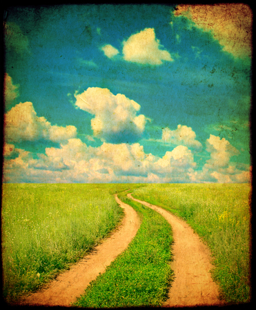 soiled: Grunge background with texture of old soiled paper and rural summer landscape with old road Stock Photo