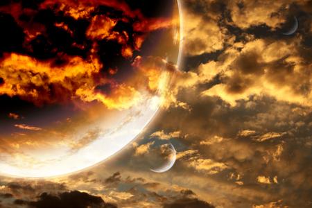 planeten: Sonnenuntergang im Sturm Himmel und fremden Planeten. Lizenzfreie Bilder