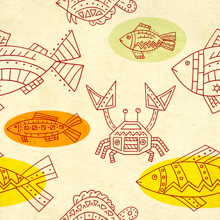 soiled: Seamless texture of old soiled paper and ethnicity patterns with fish and crab