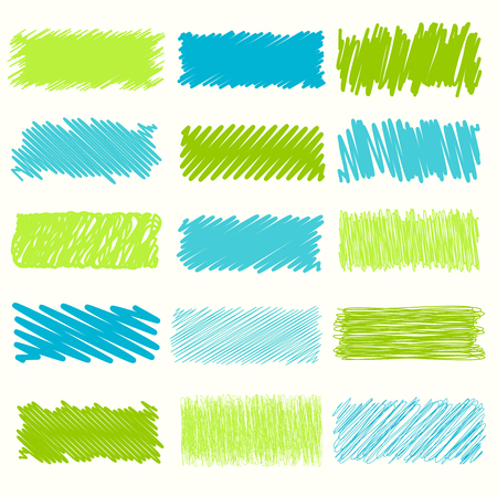 garabatos: Vector collection of retro scribbled lines with hand drawn style of green and blue color Vectores