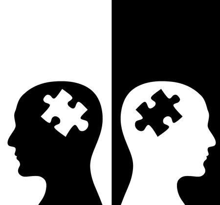 コントラストのコンセプトです。パズル形式で頭脳を持つ白と黒の色のプロファイルで 2 人の人間。黒と白の背景に分離