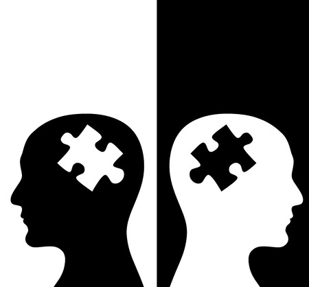 Contrast concept. Two humans profiles of white and black colors with brains in the puzzle form. Isolated on black and white backgrounds