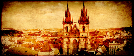 citytrip: Grunge background with paper texture and landmark of Czech Republic - Tyn Church on Old Town Square in Prague