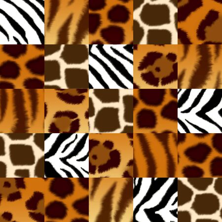 tiger page: Seamless background with illustration of fluffy skin of wild animals: jaguar; leopard; cheetah; giraffe; tiger; zebra. Endless texture can be used for wallpaper, pattern fills, web page background, surface textures
