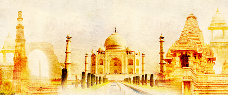 amber fort: Grunge background with paper texture and landmarks of India - Taj Mahal, Qutub-Minar Tower, Lakshmana temple, Iron pillar, Amber Fort