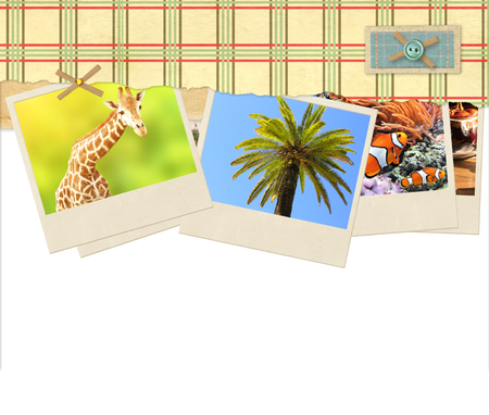 photos of pattern: Decorative frame with old paper with checkered pattern and travel photos. Isolated on white background