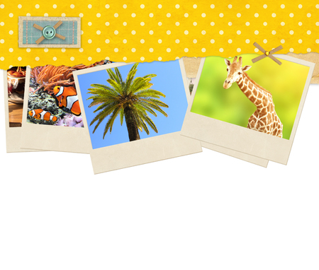 photos of pattern: Decorative frame with old paper of yellow color with dots pattern and travel photos. Isolated on white background