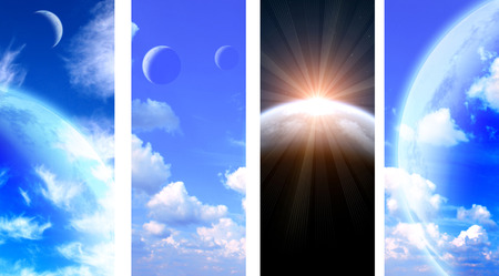 interplanetary: Set of vertical space banners with planets, nebula and stars. Stock Photo