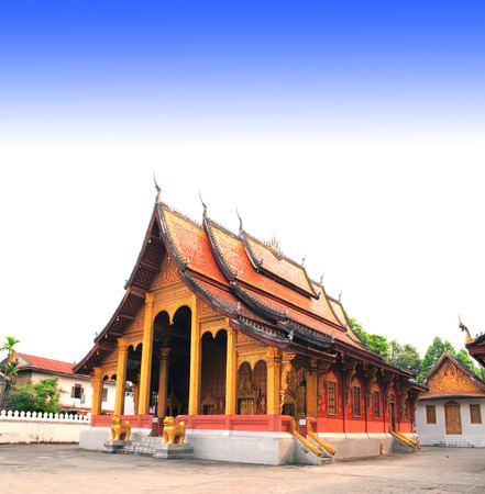 laotian: Temple in a traditional laotian style in Buddhist monastery in Luang Prabang, Laos