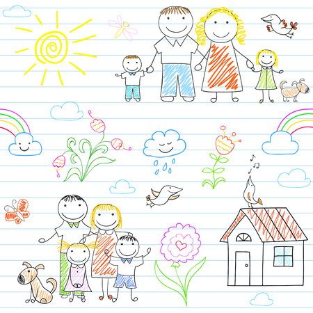 house family: Seamless background with happy family - mom, dad, boy and girl. Sketch on notebook page in doodle style