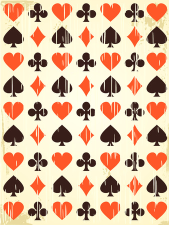 Vector retro background with playing cards symbols.