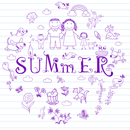 summer dog: Summertime. Happy family - mom, dad, boy and girl. Collection of elements in doodle style. Vector sketch on notebook page