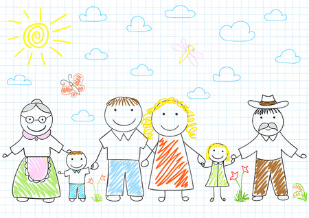 lineage: Happy family - mother, father, son, daughter, grandmother, grandfather. Vector sketch on notebook page on doodle style Illustration
