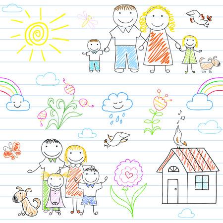 mom dad: Fondo transparente con la familia feliz - madre, padre, niño y niña. Boceto en la página portátil en el estilo de dibujo