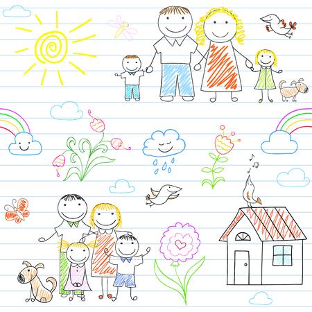 Seamless avec famille heureuse - maman, papa, garçon et fille. Croquis à la page portable dans le style de griffonnage Vecteurs