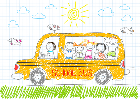 eager: Happy children in yellow school bus. Smiling girls and boys. Vector sketch in doodle style on notebook page