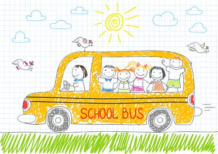 Niños felices en el autobús escolar amarillo. Sonriendo niñas y los niños. bosquejo del vector en el estilo de dibujo en la página del cuaderno