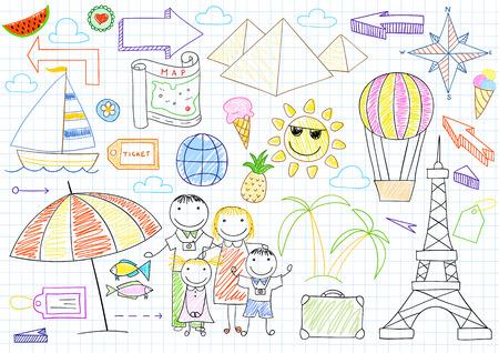 mom dad: los viajeros Familia feliz - madre, padre y dos hijos. Boceto en la página portátil